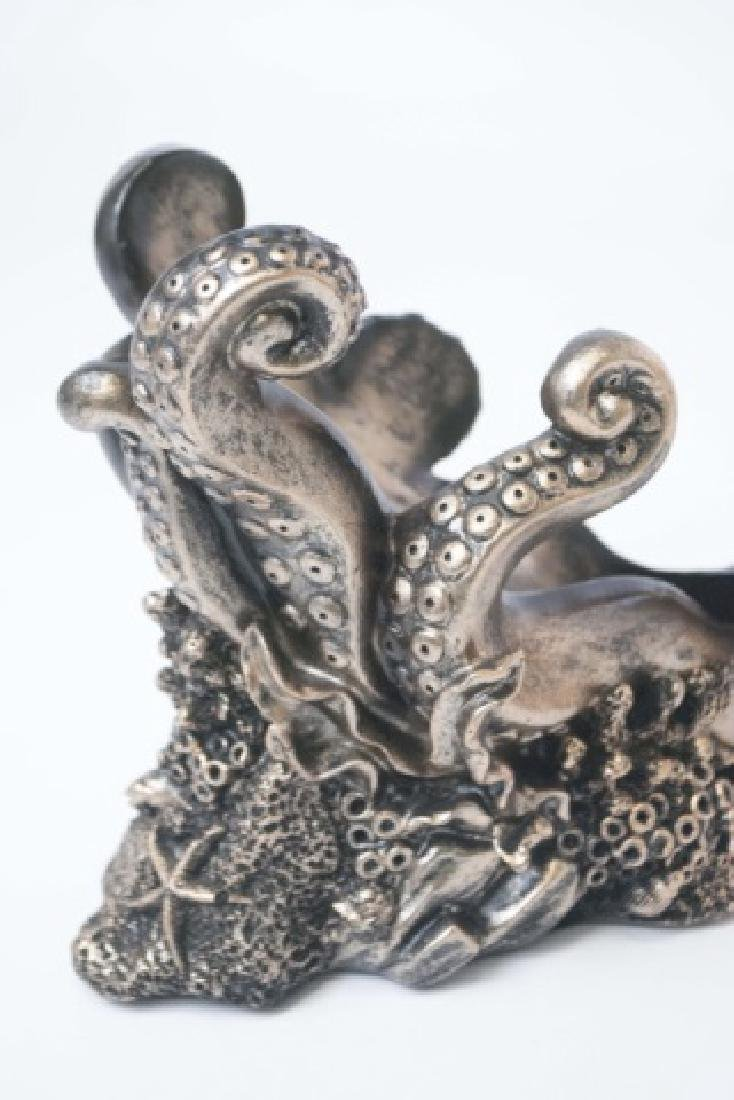 Figural Bronze Patina Octopus Wine Champagne Caddy - 4