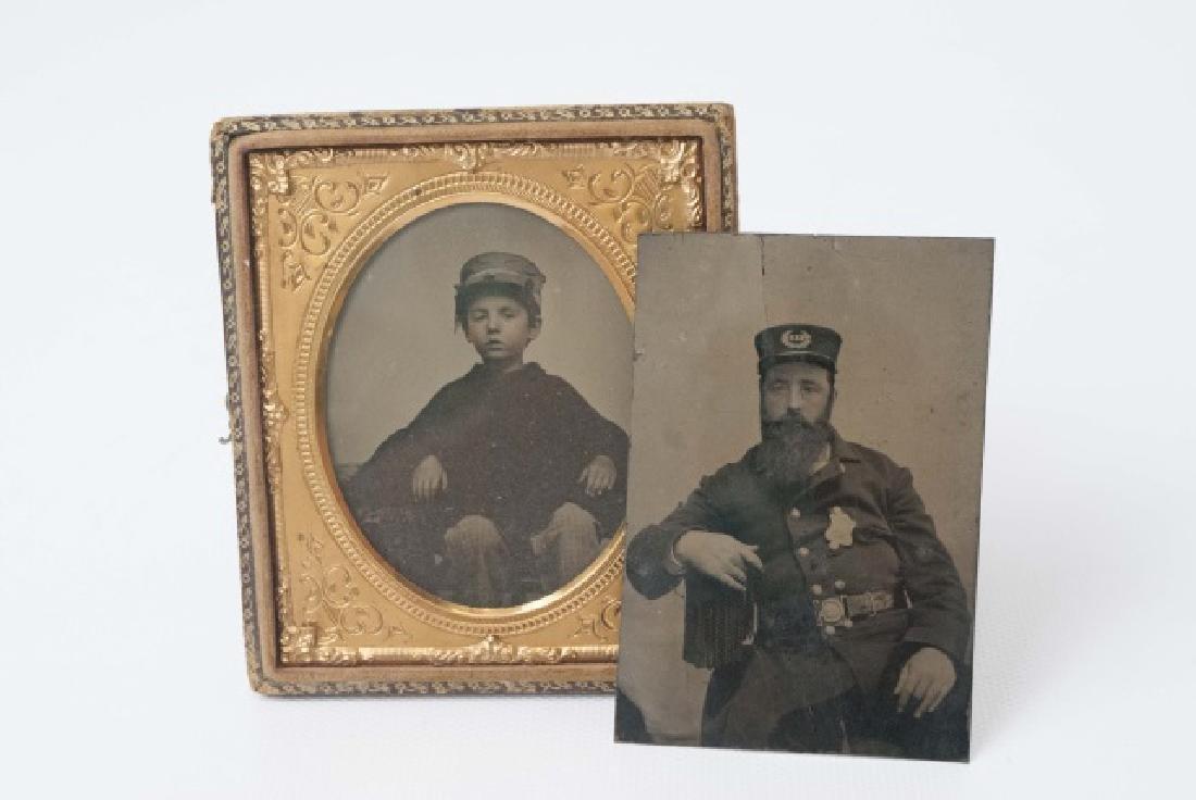 Antique Tin Type of Soldier & Daguerreotype of Boy