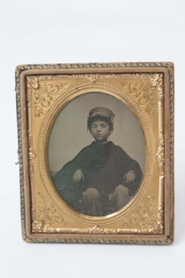 Antique Tin Type of Soldier & Daguerreotype of Boy - 2