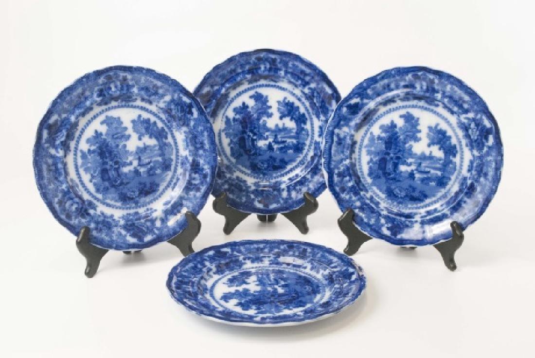 Antique Flow Blue Plates William Adam Fairy Villa