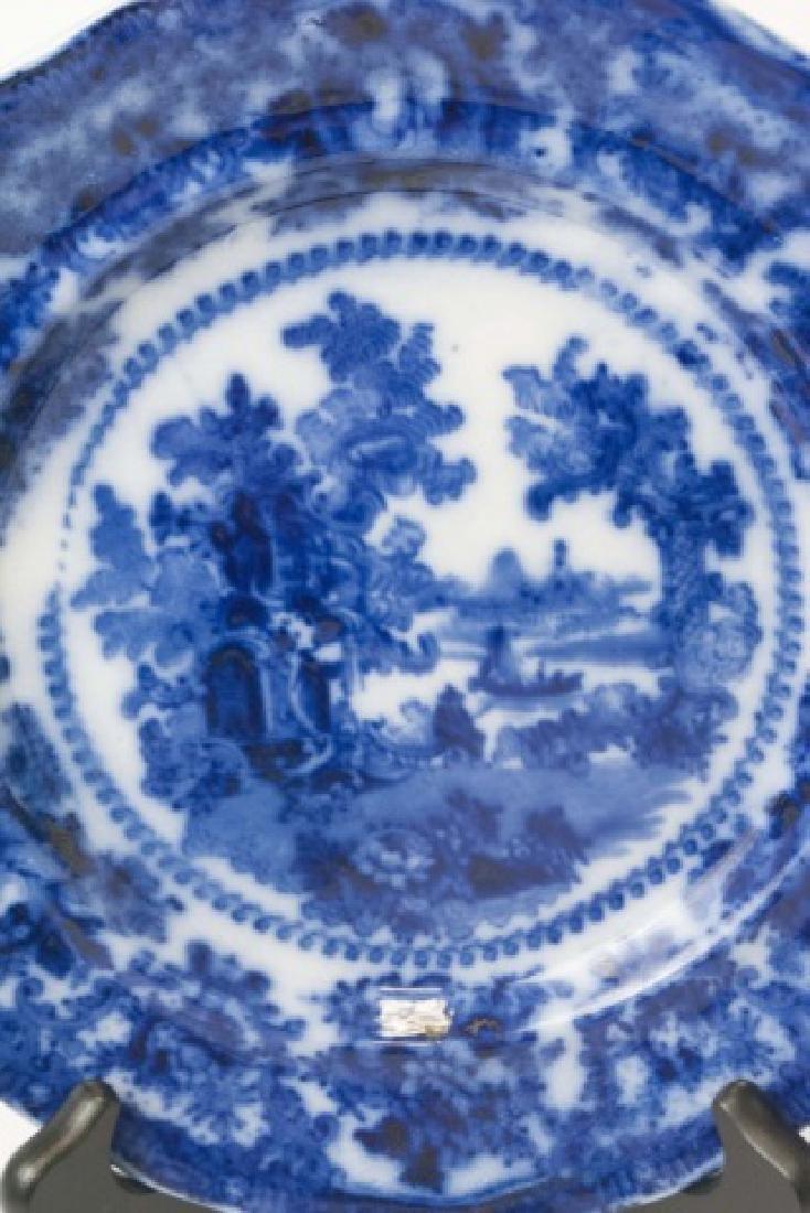 Antique Flow Blue Plates William Adam Fairy Villa - 3