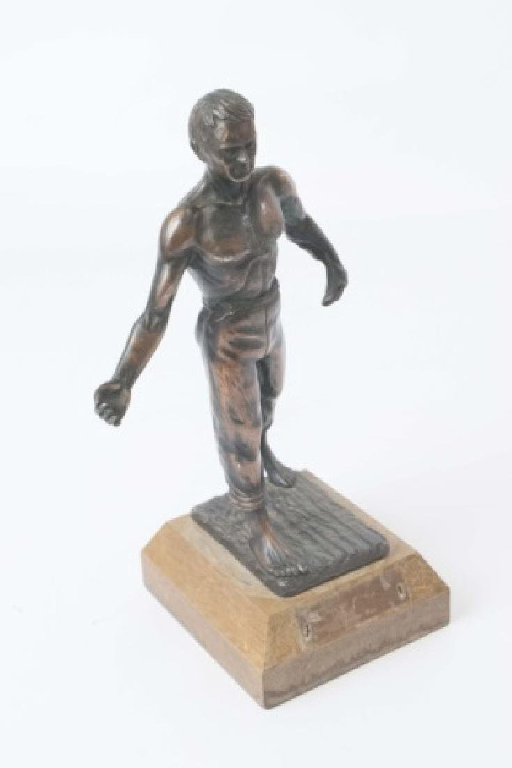 Vintage Athletic Male Physique Statue on Wood Base