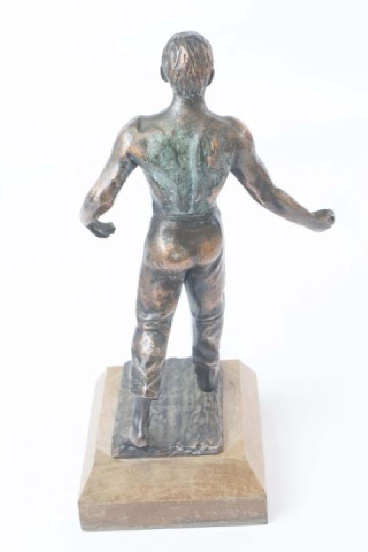 Vintage Athletic Male Physique Statue on Wood Base - 2