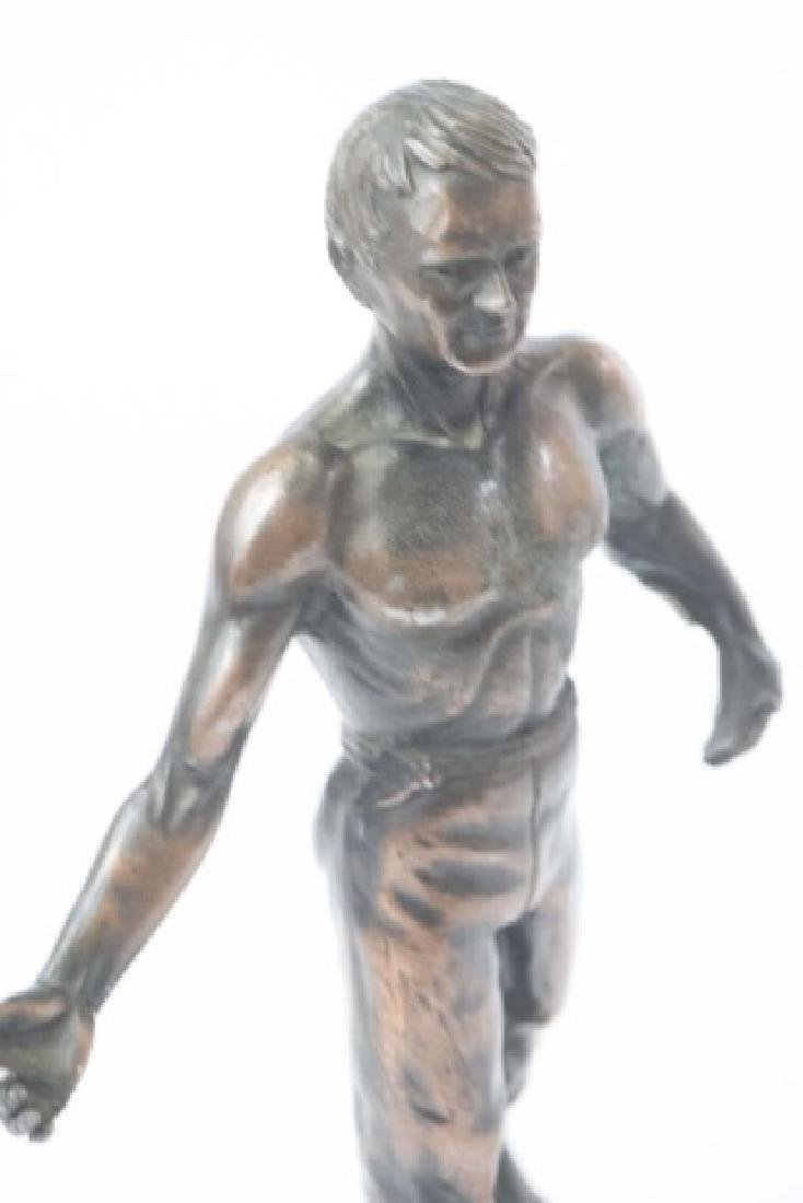 Vintage Athletic Male Physique Statue on Wood Base - 3