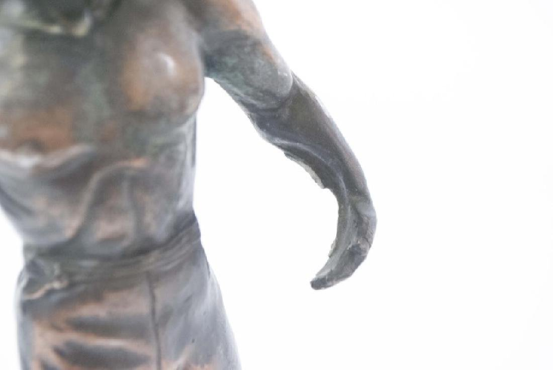 Vintage Athletic Male Physique Statue on Wood Base - 4