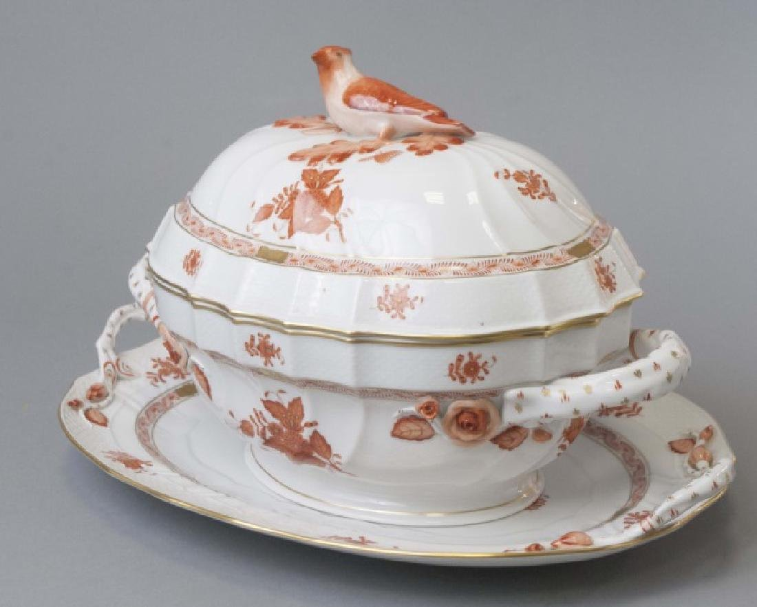 Large Herend of Hungary Porcelain Tureen w Tray