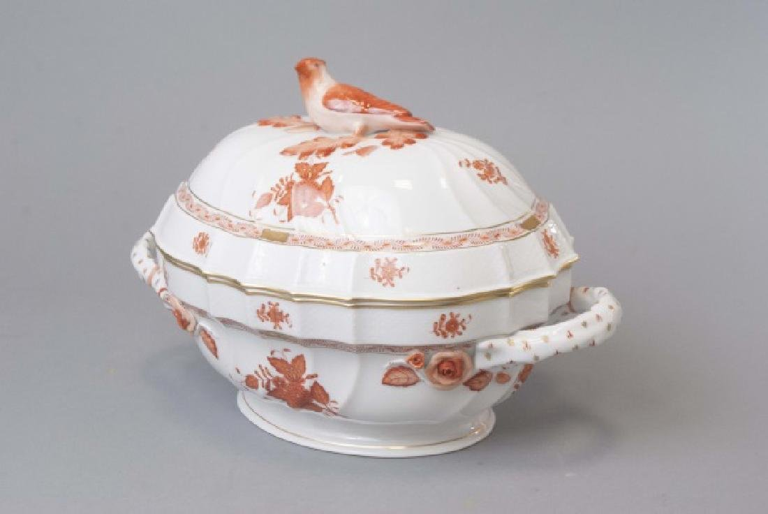 Large Herend of Hungary Porcelain Tureen w Tray - 2
