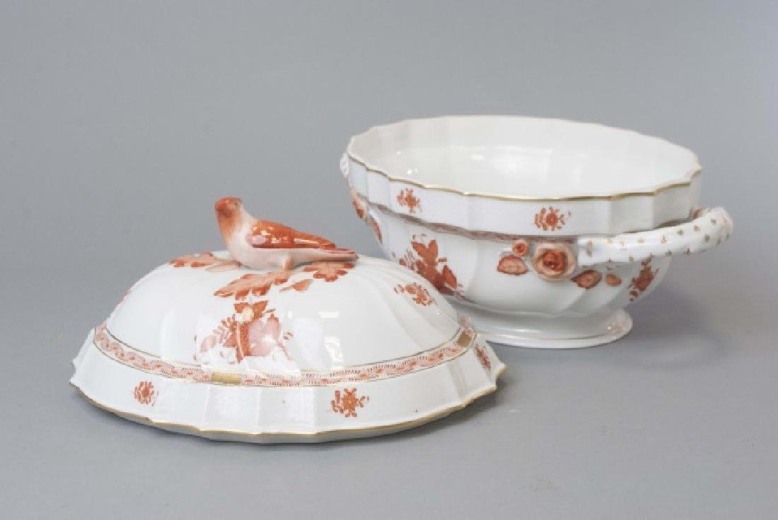 Large Herend of Hungary Porcelain Tureen w Tray - 3