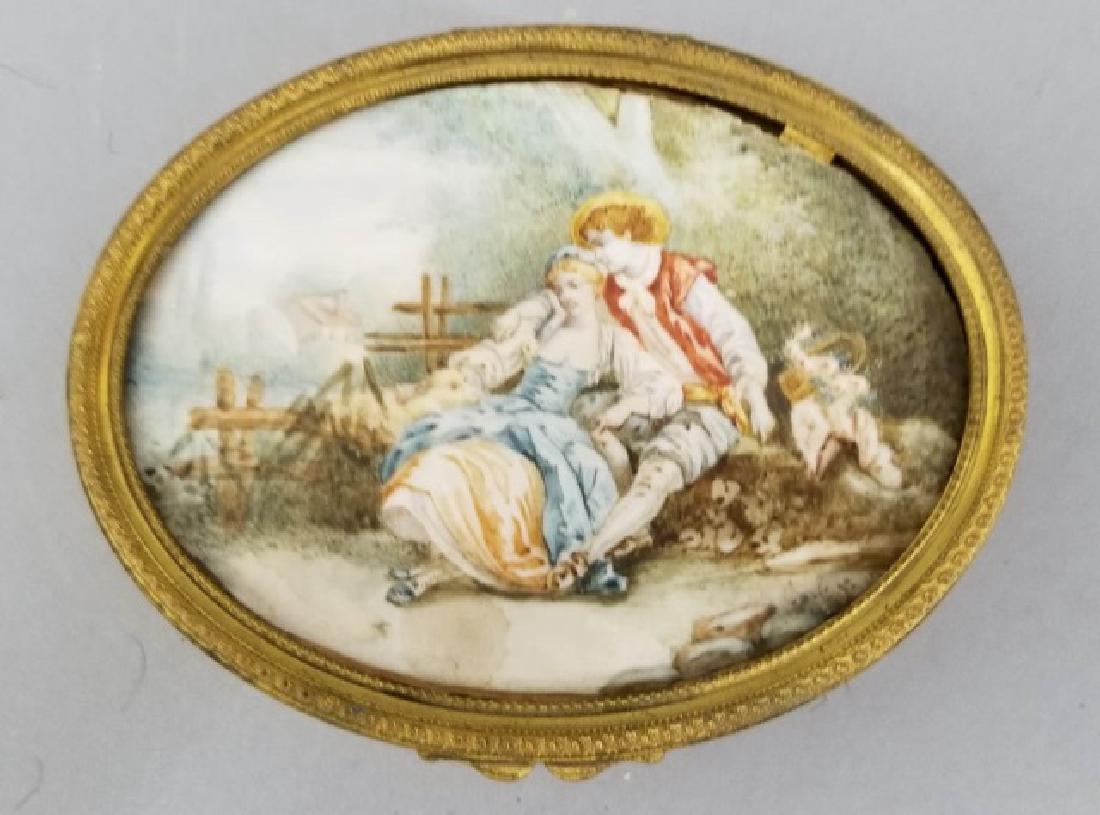 Antique French Ormolu Portrait Miniature Oval Box
