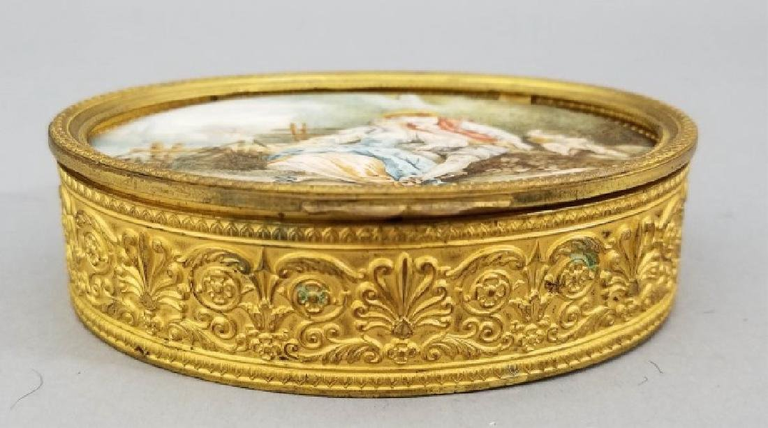 Antique French Ormolu Portrait Miniature Oval Box - 4