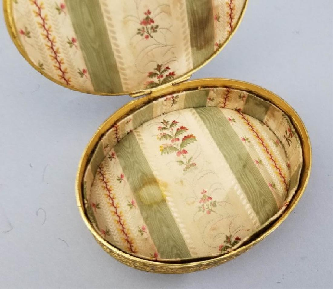 Antique French Ormolu Portrait Miniature Oval Box - 7