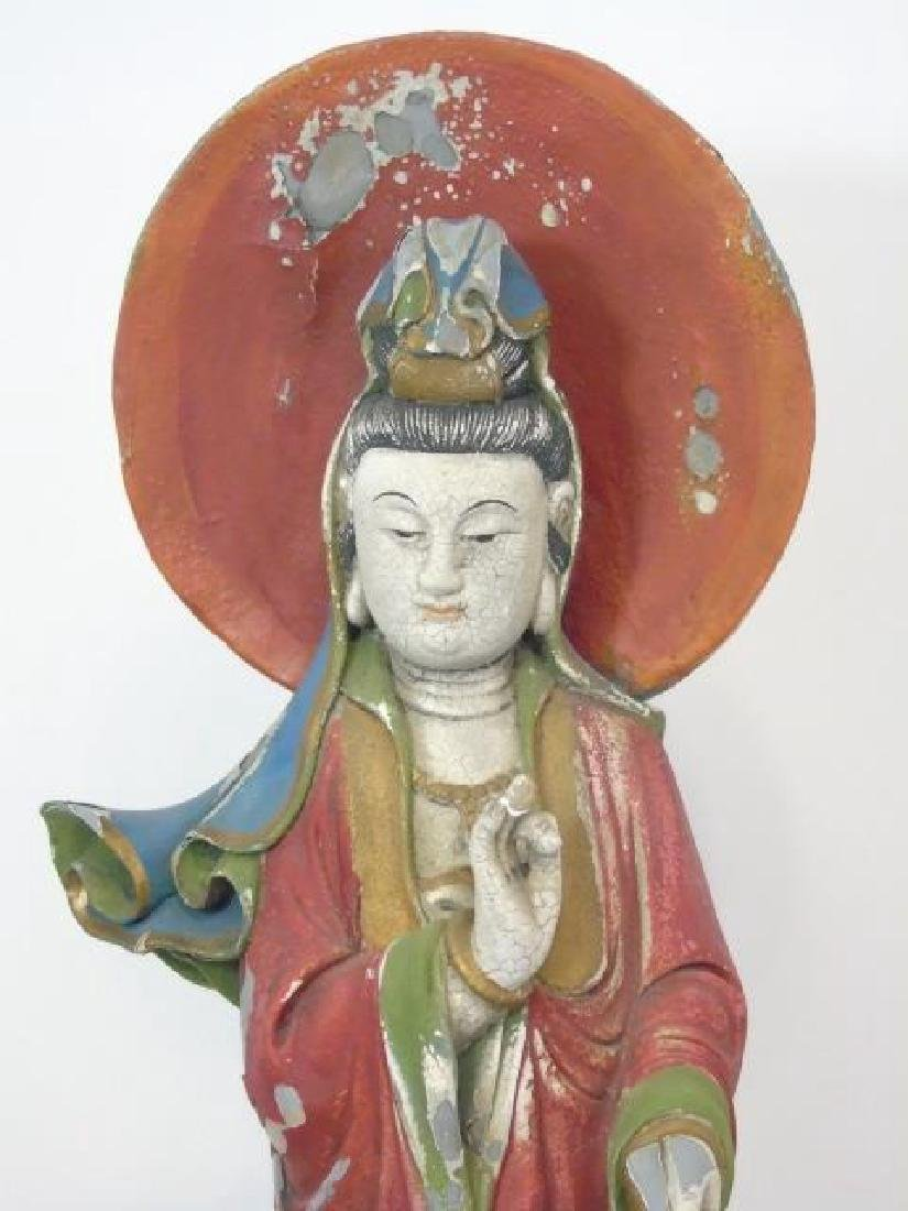 Antique 19th C Chinese Guanyin Buddha Statue - 4