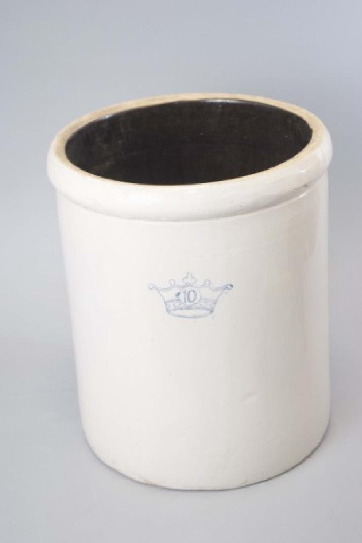 Large Stoneware Crock with Blue Crown & no. 10