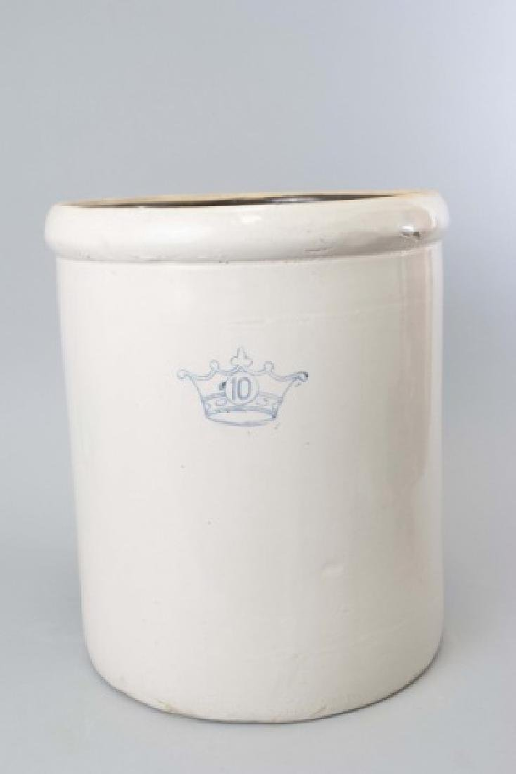 Large Stoneware Crock with Blue Crown & no. 10 - 3