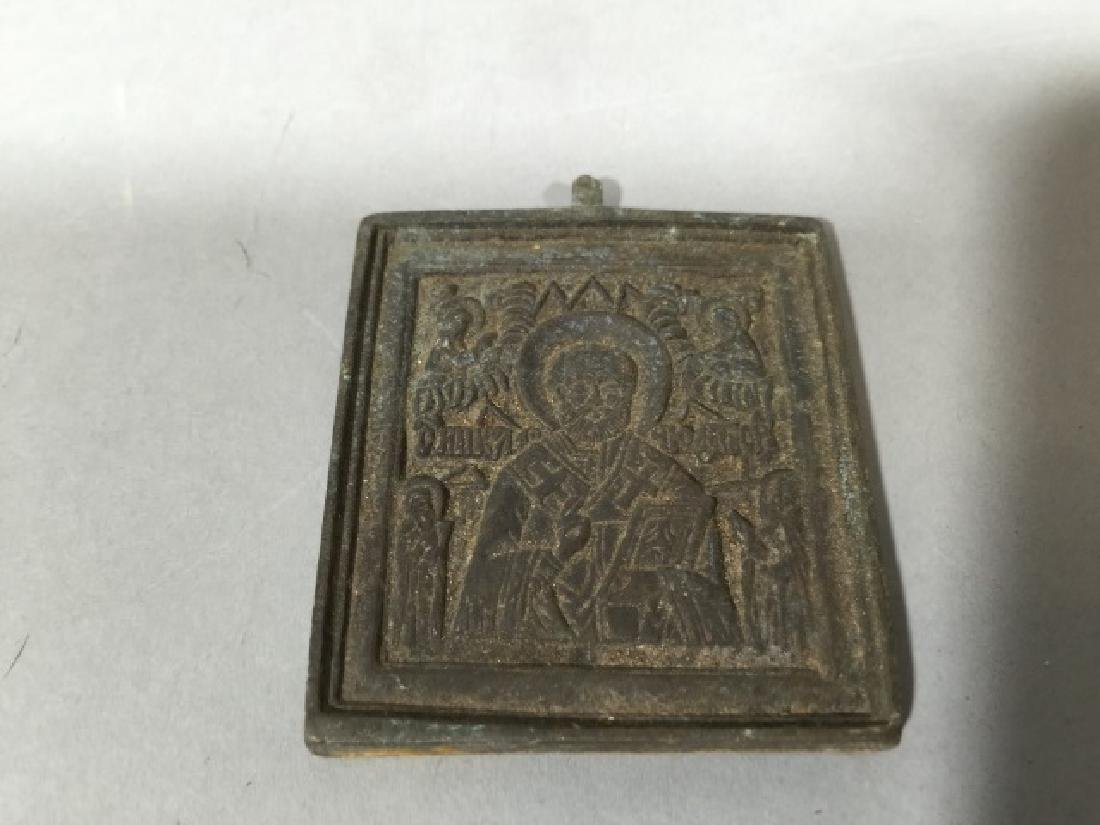 Antique Russian Miniature Travel Size Icon - 2