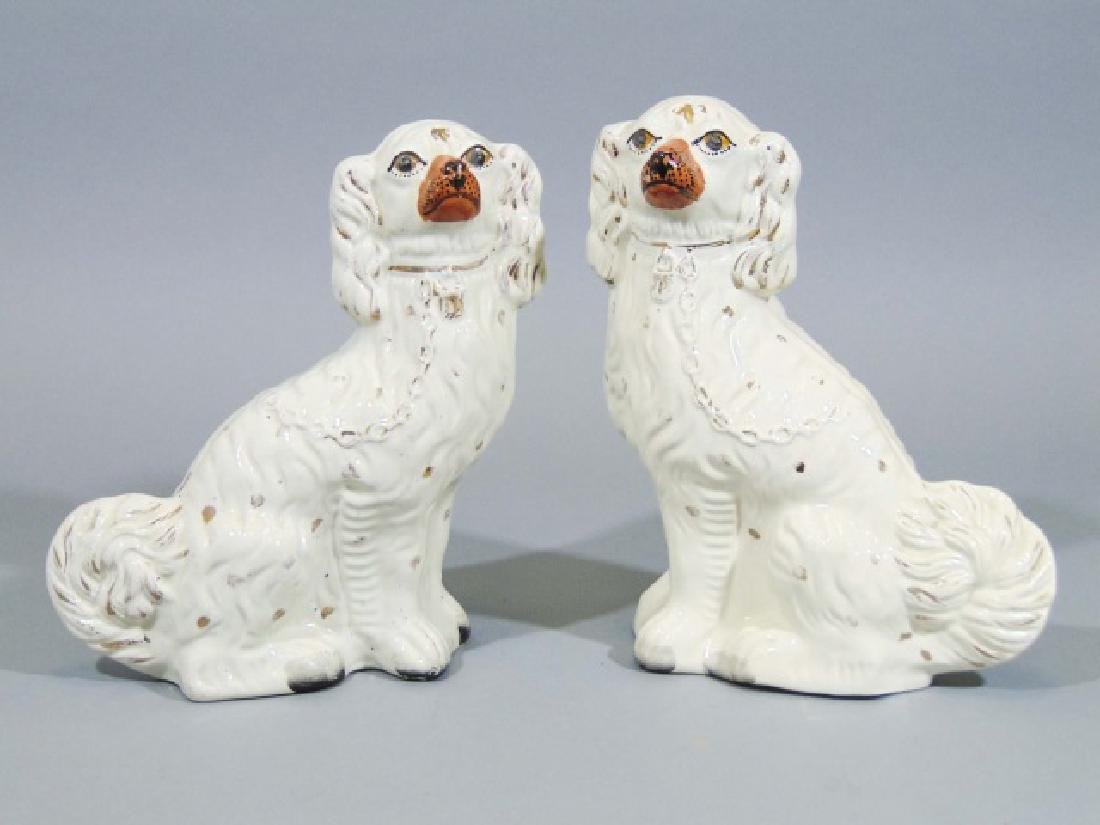 Pair of Older Porcelain White Staffordshire Dogs