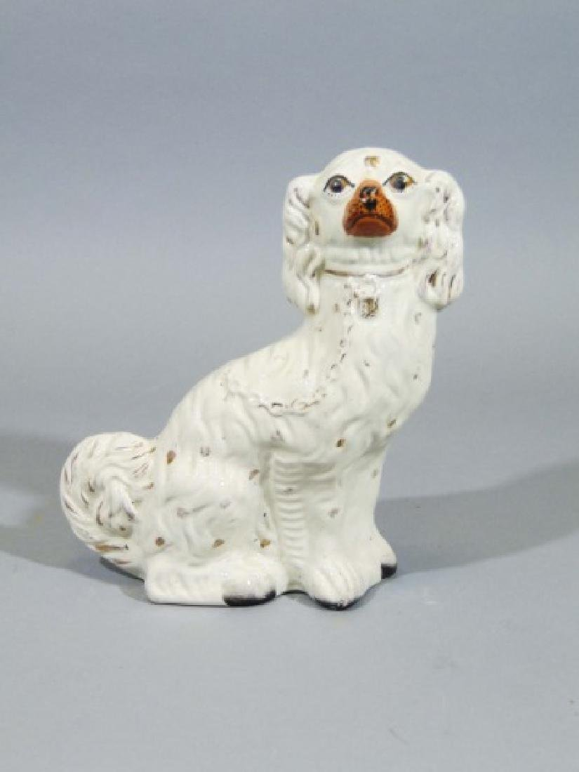 Pair of Older Porcelain White Staffordshire Dogs - 3