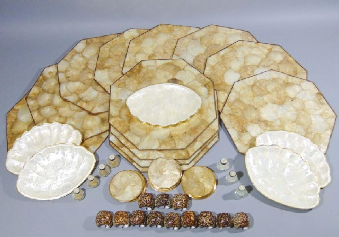 Collection of Seashell Rings, Plates & Place Mats