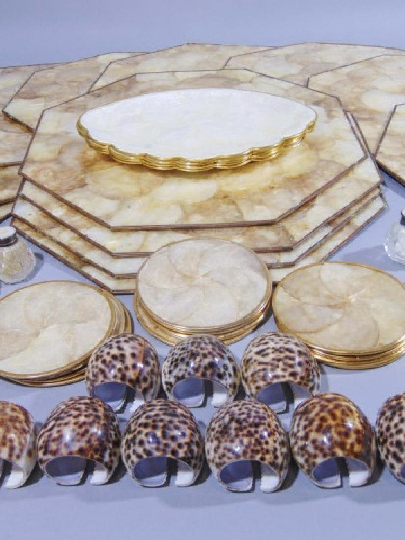 Collection of Seashell Rings, Plates & Place Mats - 6