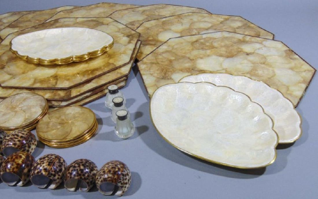 Collection of Seashell Rings, Plates & Place Mats - 7