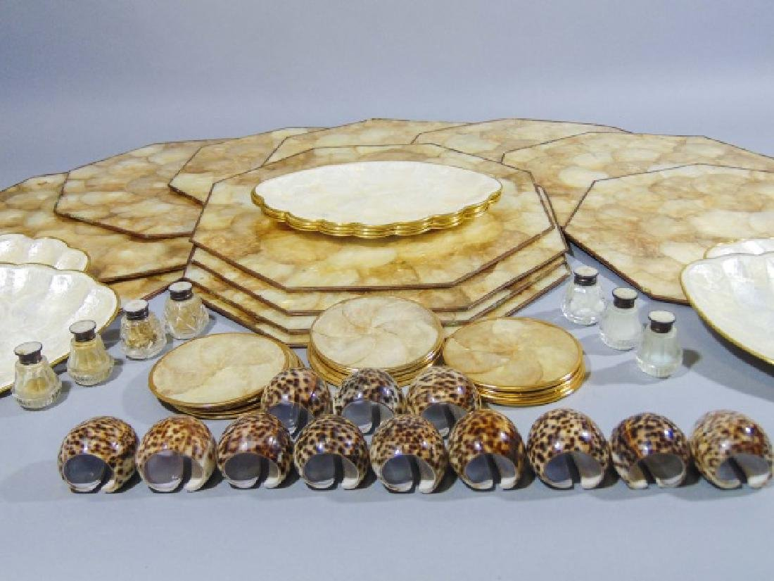 Collection of Seashell Rings, Plates & Place Mats - 8