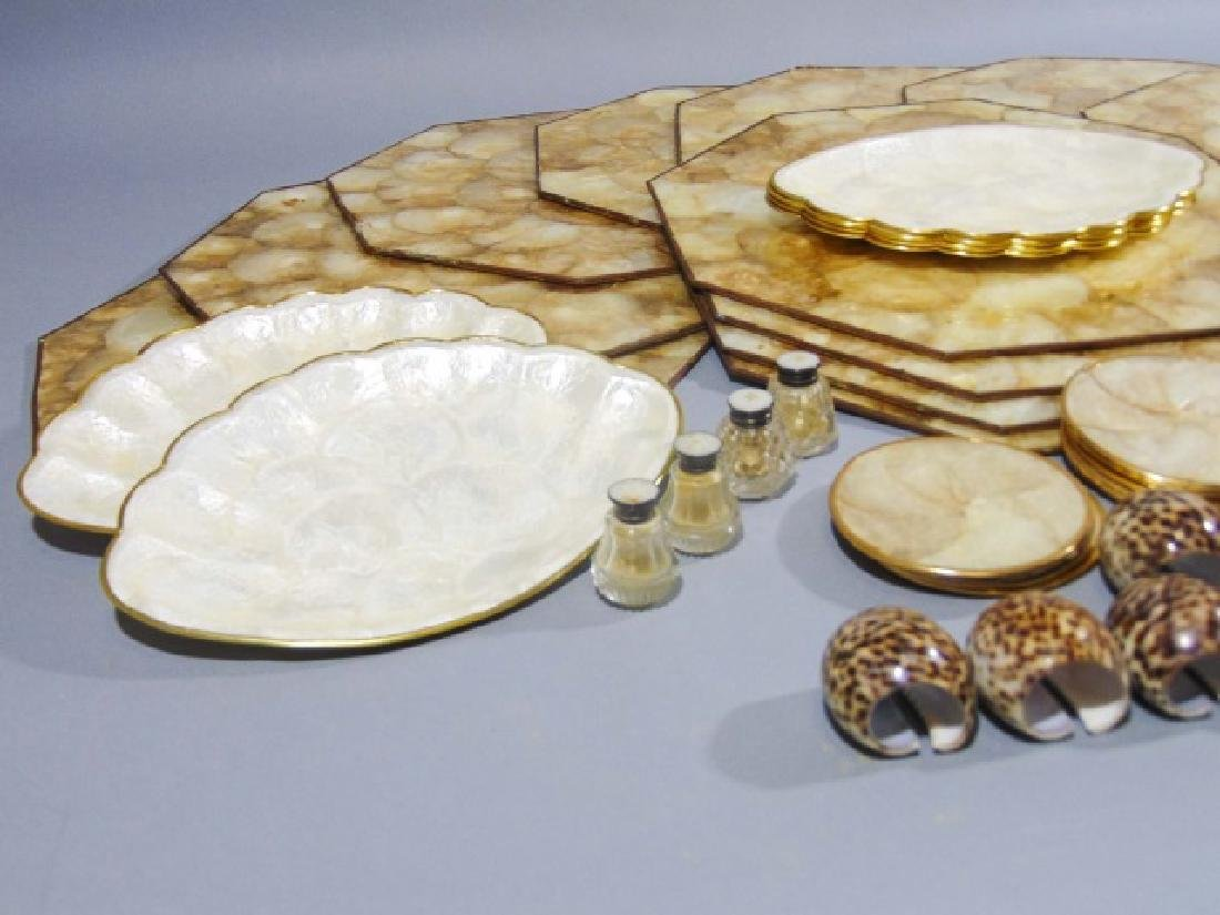 Collection of Seashell Rings, Plates & Place Mats - 9