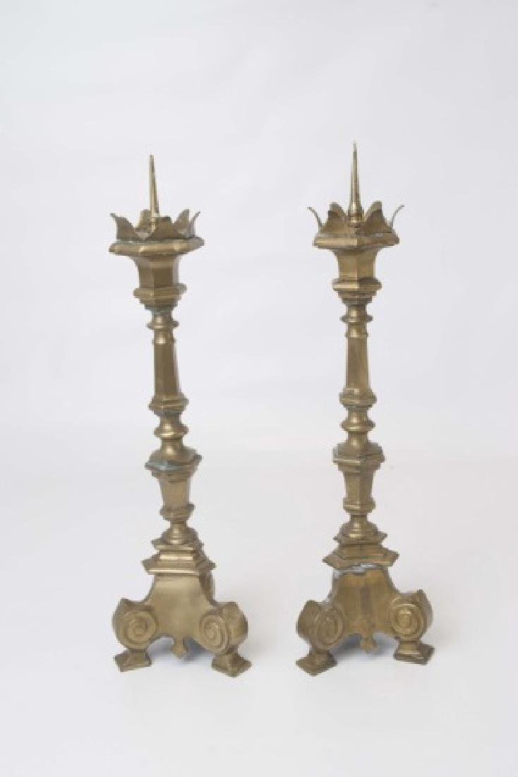 Pair Brass Tall Altar Candle Sticks with Prickets
