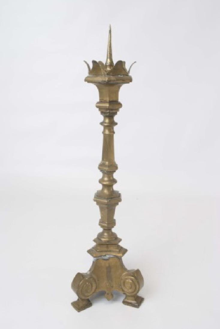 Pair Brass Tall Altar Candle Sticks with Prickets - 2