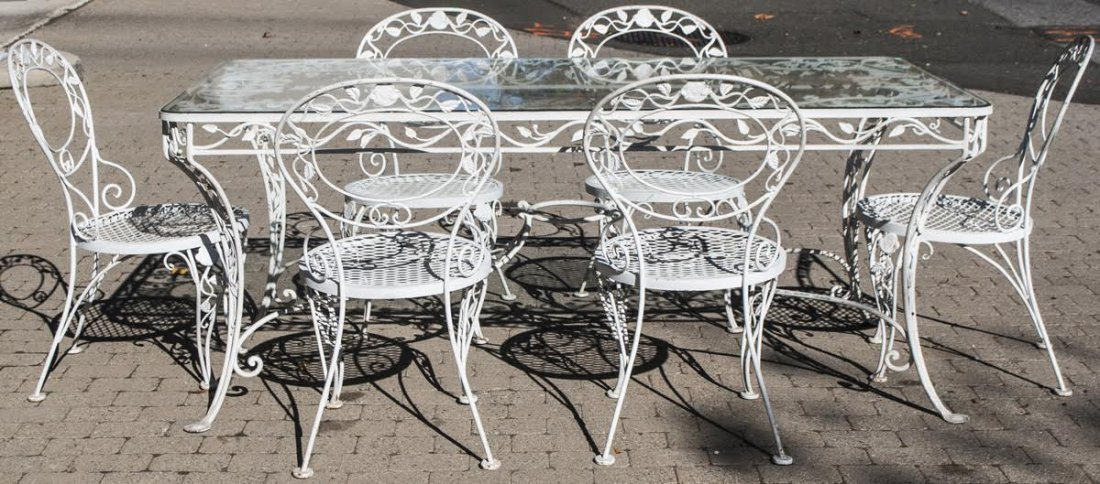 White Cast Iron Garden Patio Dining Table 6 Chairs