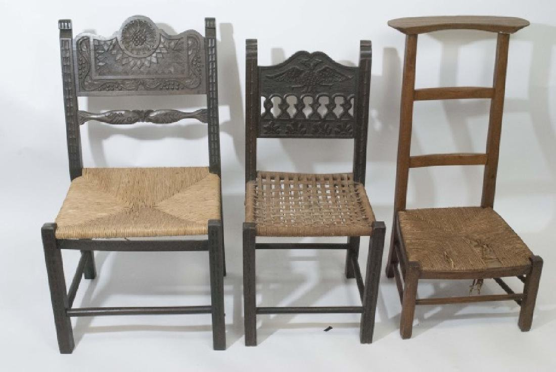 2 Antique Hand Carved Wooden Chairs & 1 Prie Dieu