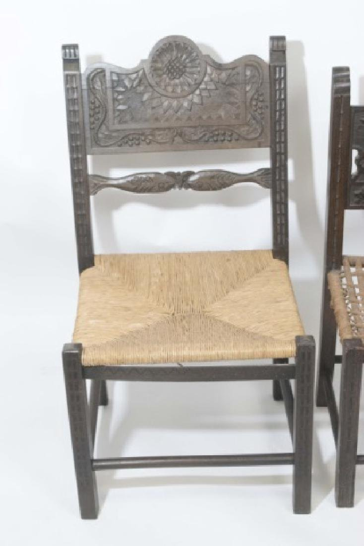 2 Antique Hand Carved Wooden Chairs & 1 Prie Dieu - 3