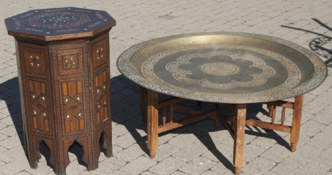 Antique Moroccan Inlaid Table & Syrian Brass Table