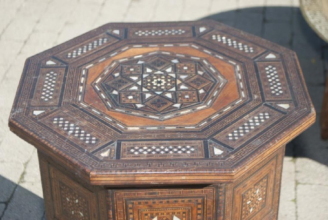 Antique Moroccan Inlaid Table & Syrian Brass Table - 2