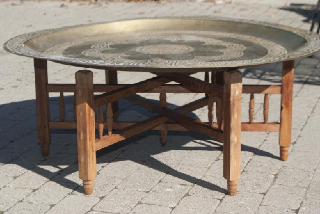 Antique Moroccan Inlaid Table & Syrian Brass Table - 3