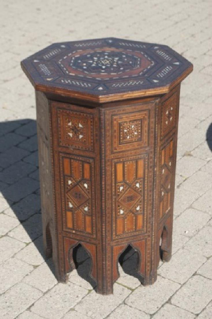 Antique Moroccan Inlaid Table & Syrian Brass Table - 4