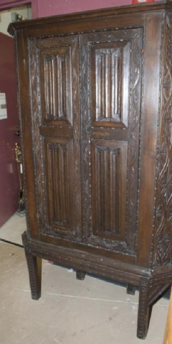 Antique Hand-Carved Country Corner Cabinet