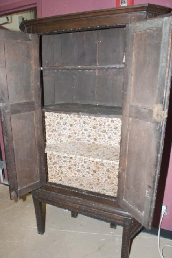 Antique Hand-Carved Country Corner Cabinet - 3
