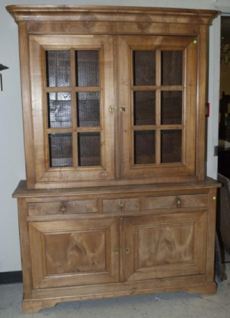 Antique French Country Pine Biblioteque Cabinet