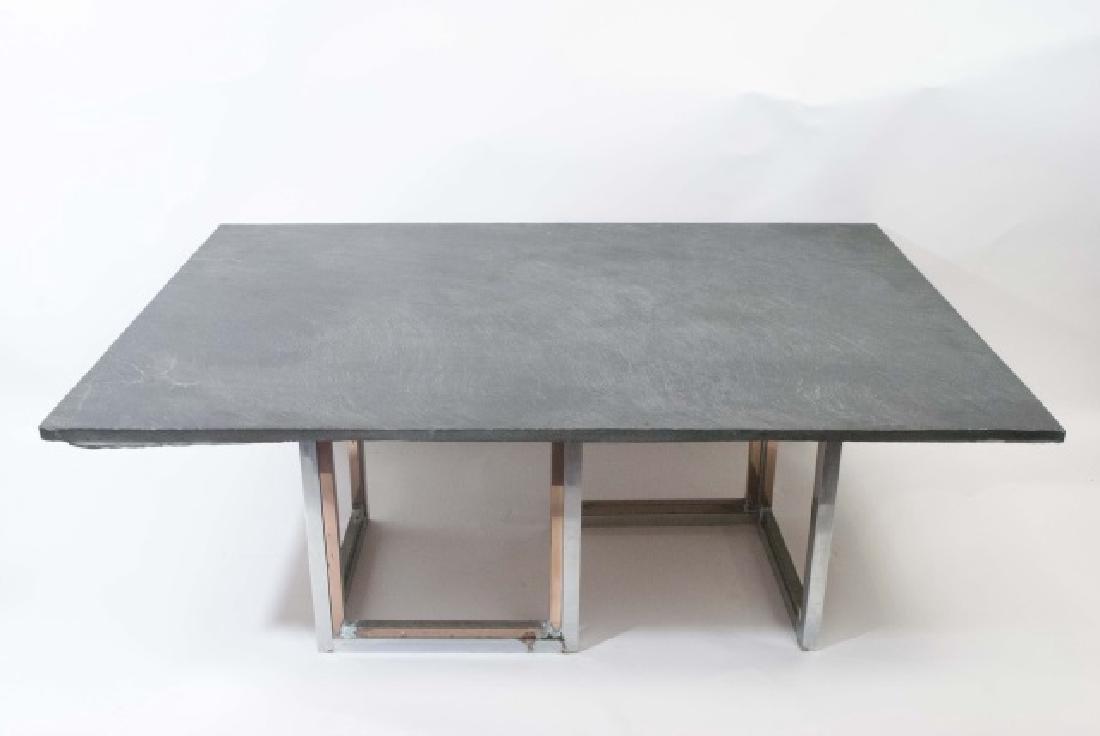 Mid Century Modern Custom Slate & Chrome Table