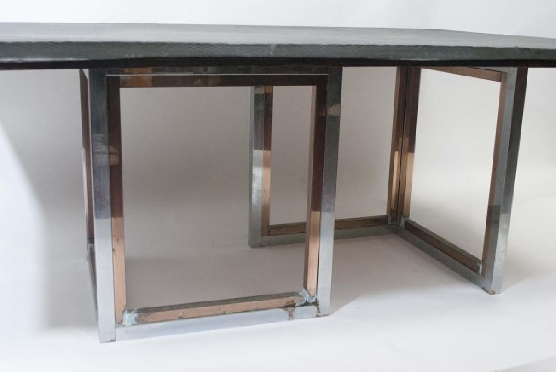 Mid Century Modern Custom Slate & Chrome Table - 2