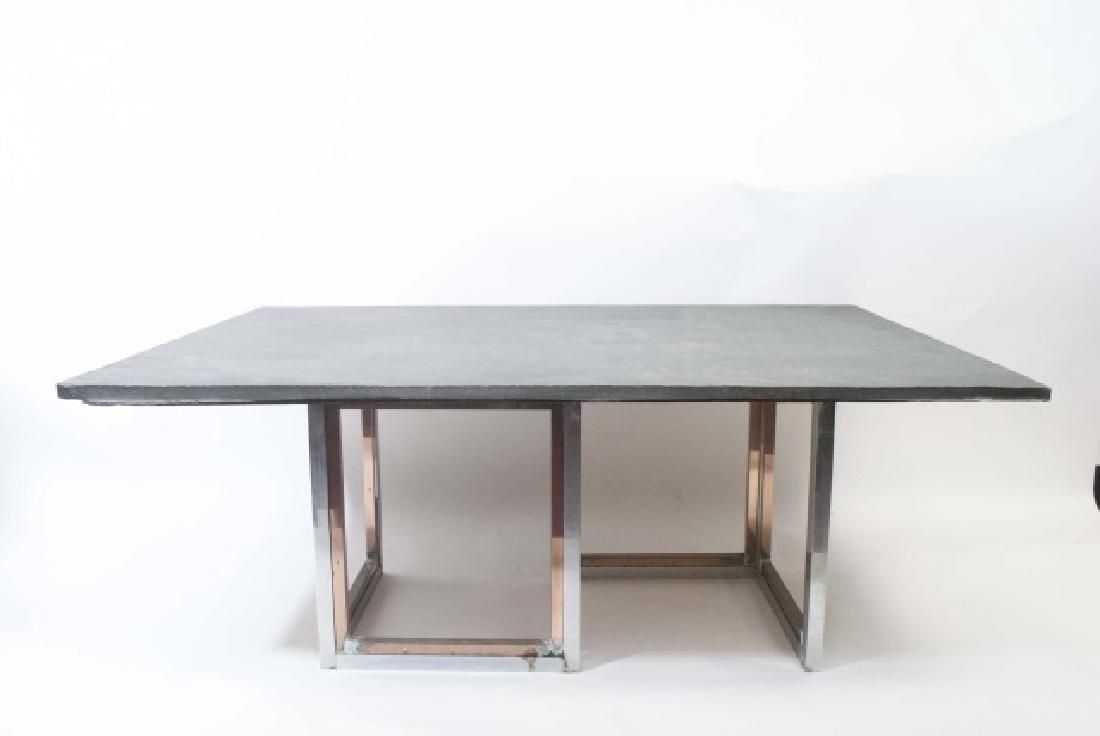 Mid Century Modern Custom Slate & Chrome Table - 3