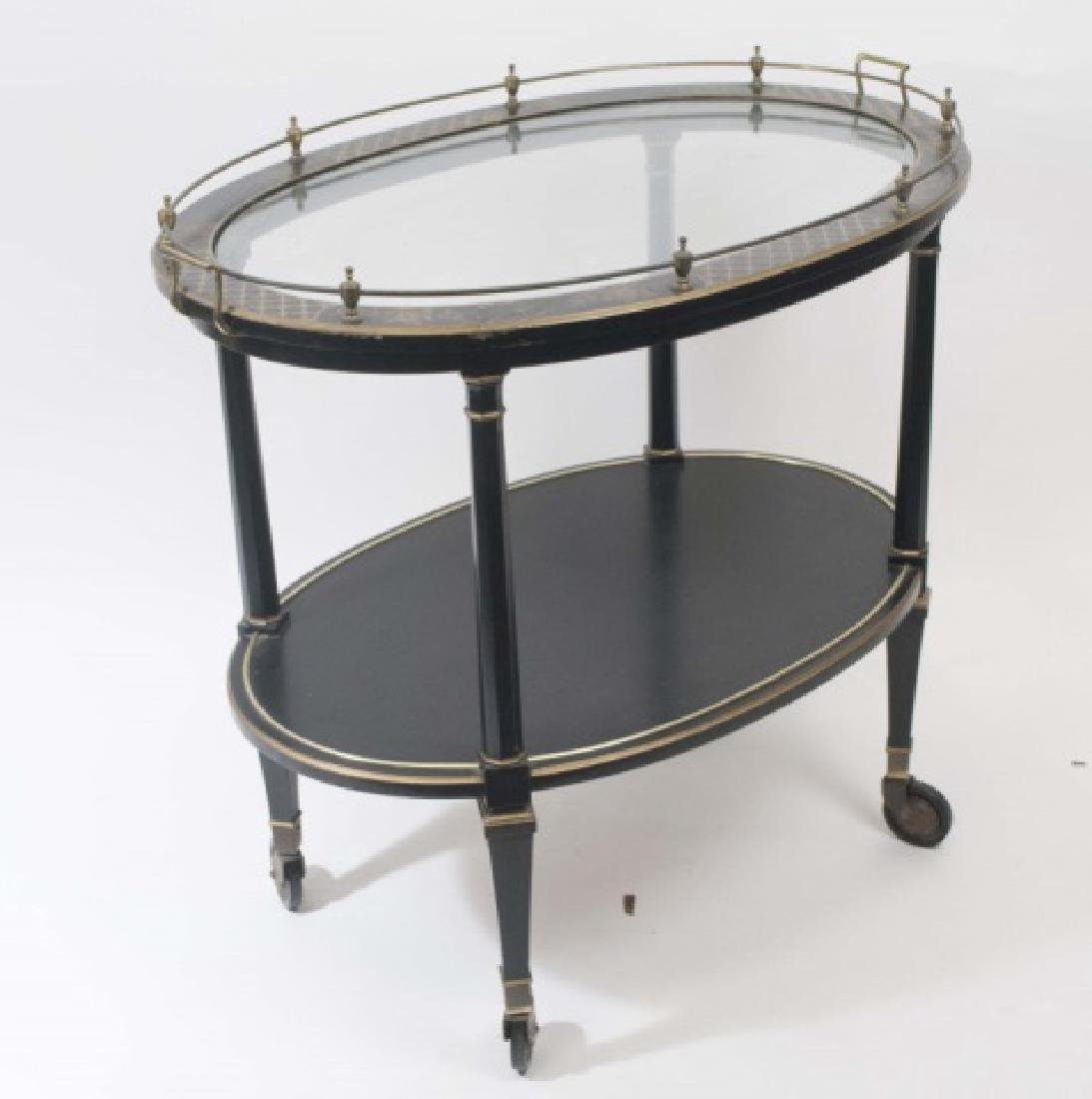 Vintage Black & Gold Painted Tea Cart w Glass Top