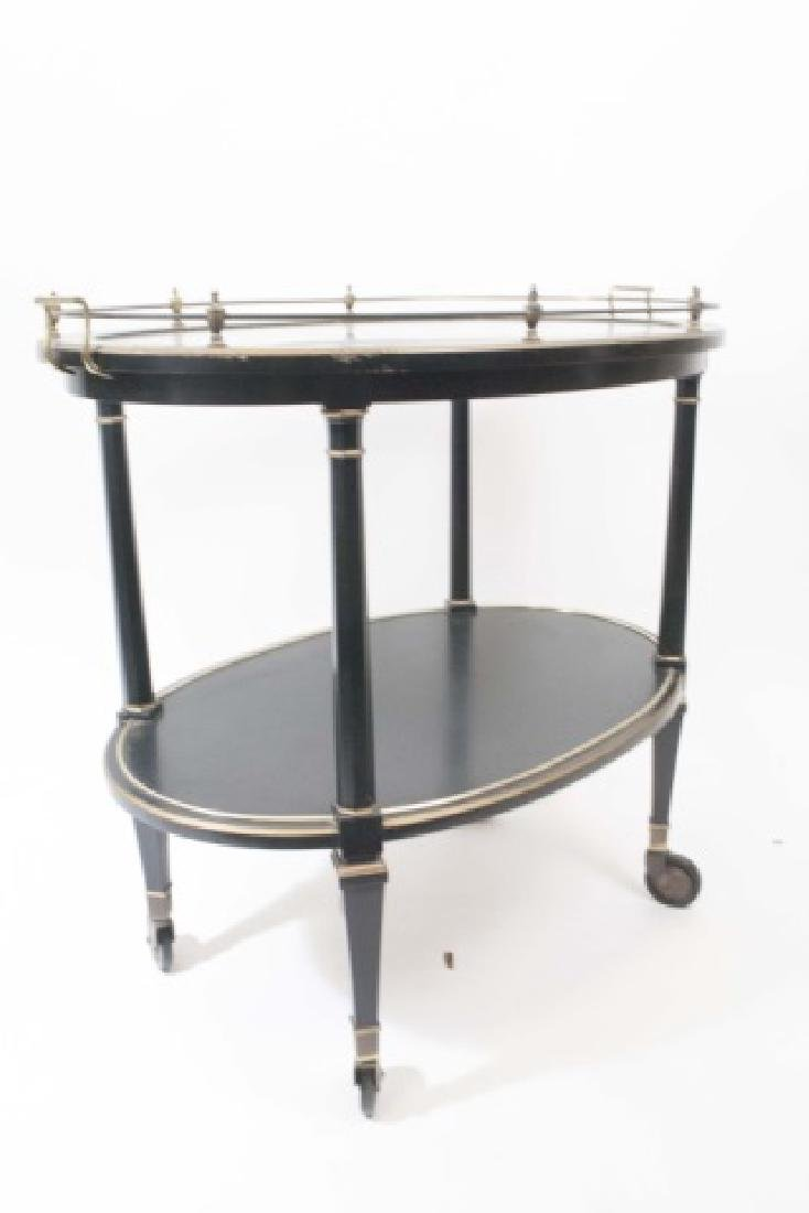 Vintage Black & Gold Painted Tea Cart w Glass Top - 2