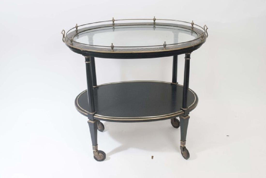 Vintage Black & Gold Painted Tea Cart w Glass Top - 3