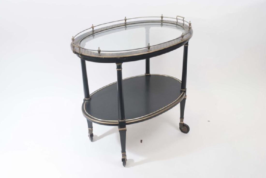 Vintage Black & Gold Painted Tea Cart w Glass Top - 4