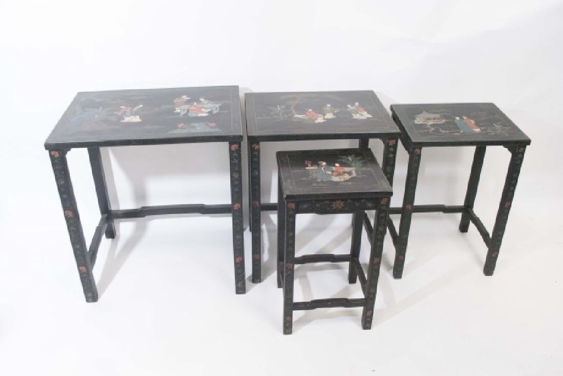 Antique 4-Piece Japanned Nesting Tables