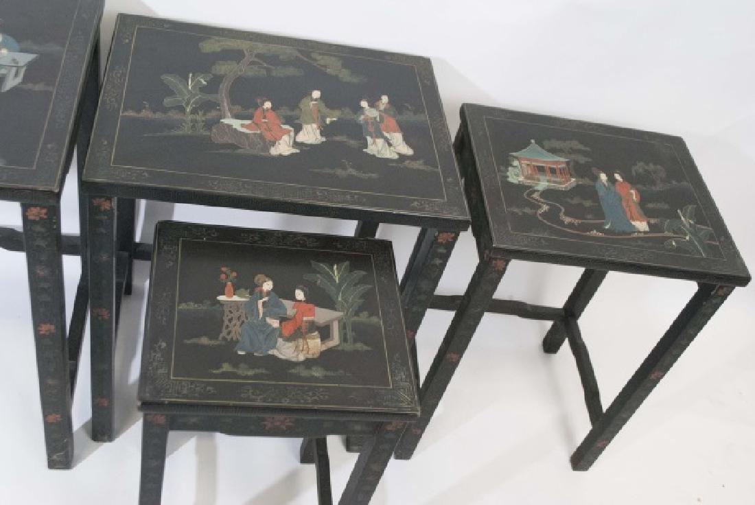 Antique 4-Piece Japanned Nesting Tables - 2