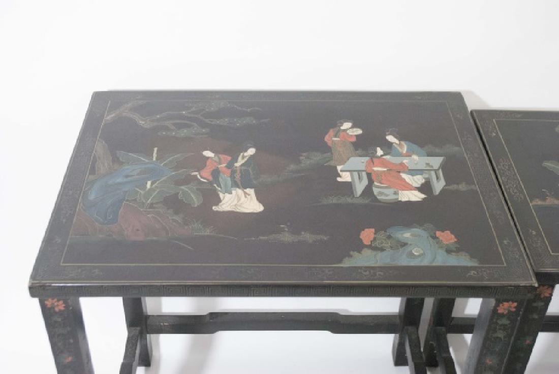 Antique 4-Piece Japanned Nesting Tables - 3