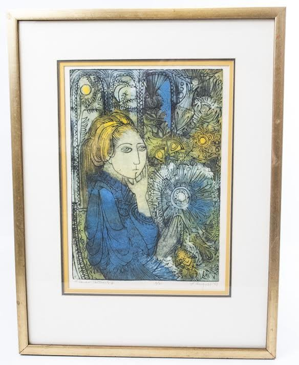 L. August Signed & Numbered Etching in Frame w Mat