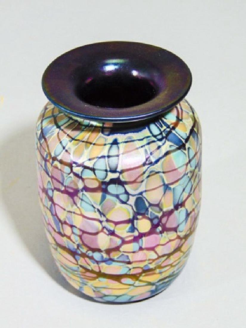 Signed Art Glass Purple Aurene Millefiori Vase